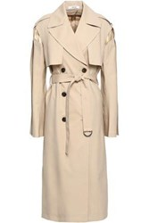 Adeam Woman Quilted Satin Paneled Wool Blend Trench Coat Beige