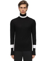 Neil Barrett Wool And Silk Knit Turtleneck Sweater Black