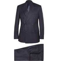 Kingsman Navy Double Breasted Pinstriped Wool And Cashmere Blend Suit Blue