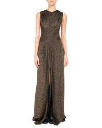 Pascal Millet Metallic Jersey Slit Front Gown Gold