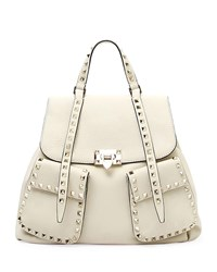 Valentino Garavani Rockstud Double Pocket Backpack Ivory
