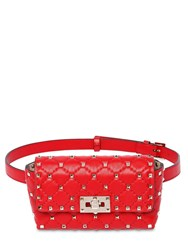 Valentino Garavani Rockstud Spike Leather Belt Bag Rouge Pure