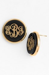 Women's Moon And Lola 'Vineyard' Personalized Monogram Stud Earrings Black