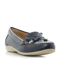 Geox Yuki Lace Detail Bow Front Loafers Blue
