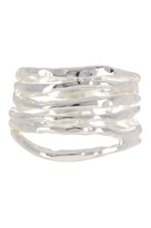 Argentovivo Sterling Silver Hammered Stacked Ring Size 5 Metallic