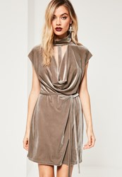 Missguided Brown Choker Cowl Neck Bodycon Velvet Dress Taupe
