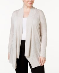 Alfani Plus Size Linen Open Front Cardigan Only At Macy's French Stone
