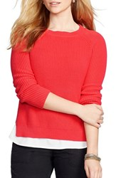 Plus Size Women's Lauren Ralph Lauren Layered Look Cotton Crewneck Sweater Deco Coral