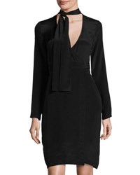 State Of Being Georgie Tie Neck Silk Faux Wrap Dress Black