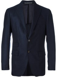 Eleventy Detailed Notched Lapel Blazer Blue