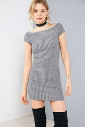 Silence And Noise Ribbed Off The Shoulder Bodycon Mini Dress Grey