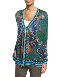 Etro Long Sleeve Floral And Geometric Cardigan Green Floral