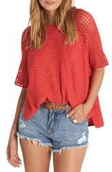 Billabong Women's Island Castaway Knit Top Sunset Red