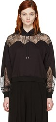 Mcq By Alexander Mcqueen Black Lace Trimmed Hoodie