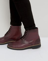 Frank Wright Military Lace Up Boots In Hi Shine Ox Red