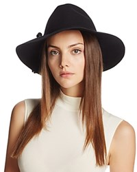 Bettina Wide Brim Wool Fedora Black