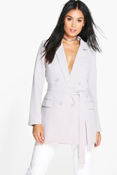Boohoo Woven Double Breasted Belted Blazer Grey