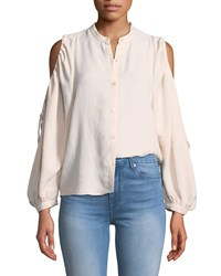 7 For All Mankind Button Down Cold Shoulder Top Pink