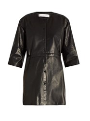 Palmer Harding Collarless Leather Shirt Black