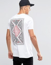 Asos Longline T Shirt With Aztec Box Back Print White