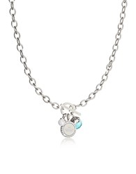 Rebecca Hollywood Stone Rhodium Over Bronze Chain Necklace W Hydrothermal Turquoise Stone And Glass Pearl