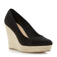 Linea Atria Espadrille Wedge Court Shoe Black