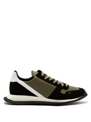 Rick Owens Panelled Leather Low Top Trainers Multi