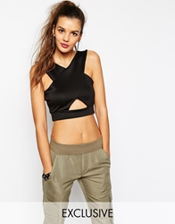 Daisy Street Halter Crop Top With Cut Out And Low Back Black