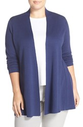Plus Size Women's Eileen Fisher Lightweight Silk And Cotton Knit Straight Long Cardigan