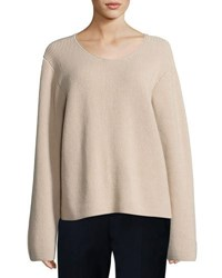 The Row Grisa Ribbed Scoop Neck Sweater Flesh