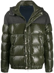 Eleventy Contrast Panel Hooded Padded Jacket Green