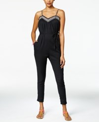 Roxy Juniors' Celestial Sun Embroidered Jumpsuit Anthracite