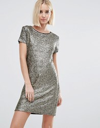 Pepe Jeans Angelica Sequin T Shirt Dress Gold