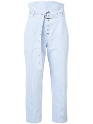 Marissa Webb Pinstripe Belted Trousers Polyester Blue