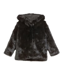 Adrienne Landau Hooded Rabbit Fur Coat Size 2T 12Y Black