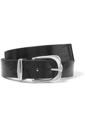 Isabel Marant Kidatt Snake Effect Leather Belt Black