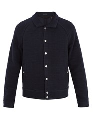 Atm Anthony Thomas Melillo Point Collar Boucle Knit Bomber Jacket Navy