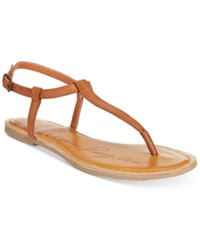 American Rag Krista T Strap Flat Sandals Only At Macy's Women's Shoes Cognac
