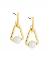 Rebecca Minkoff 12K Gold Plated Small Triangular Pearly Bead Drop Earrings No Color