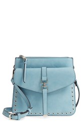 Sole Society Front Pocket Faux Leather Crossbody Bag Blue Glacier Blue