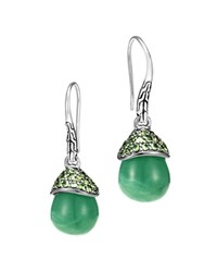 John Hardy Sterling Silver Classic Chain Celestial Brazilian Jade Orb Drop Earrings With Tsavorite Green Silver