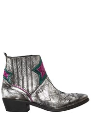 Elena Iachi 40Mm Stars Vintage Leather Cowboy Boots Silver