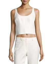 Halston Scoop Neck Sleeveless Silk Blend Crop Top White