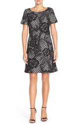 Donna Ricco Lace And Tweed A Line Dress Black