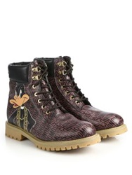 Moschino Bugs Bunny Combat Boots Brown
