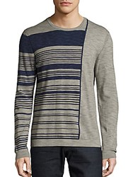 Saks Fifth Avenue Striped Roundneck Cotton Tee Navy Grey