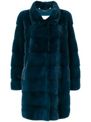 Manzoni 24 Oversized Coat Women Mink Fur 46 Blue