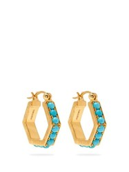 Patcharavipa 18Kt Gold And Turquoise Hexagonal Hoop Earrings Blue