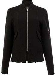 Yang Li Distressed Zipped Jacket Viscose Virgin Wool Black