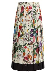 Gucci Flora Snake Print Pleated Silk Midi Skirt White Print